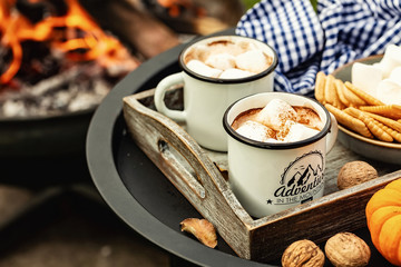 Canvas Prints Chocolate two cup of cocoa or hot chocolate and skewers of roasted marshmallows over campfire. autumn holidays outdoors treats