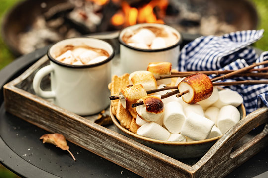 two cup of cocoa or hot chocolate and skewers of roasted marshmallows over campfire. autumn holidays outdoors treats