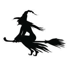 Vector illustrations of silhouette Halloween evil witch