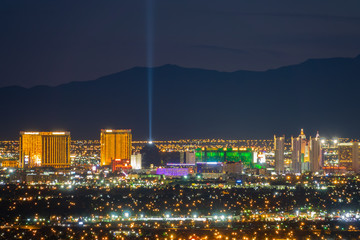 Foto op Aluminium Las Vegas Aerial night high angle view of the downtown Las Vegas Strip