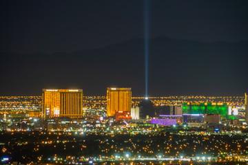 Papiers peints Las Vegas Aerial night high angle view of the downtown Las Vegas Strip