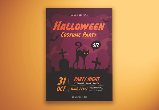 Halloween Costume Party Flyer Layout with Illustrative Elements