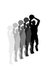 jumping basketball player doing slam dunk