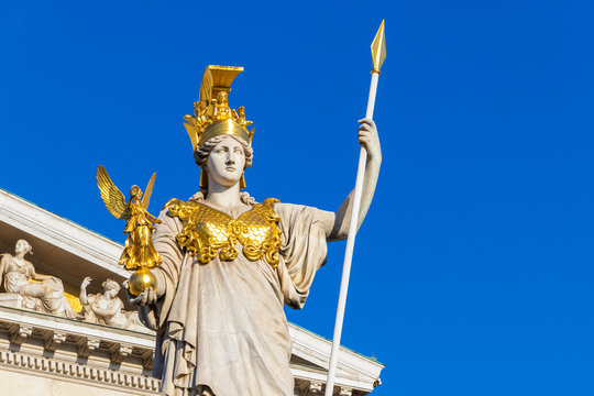 The ancient Greek Goddess Athena in front of Austrian Parliament Building