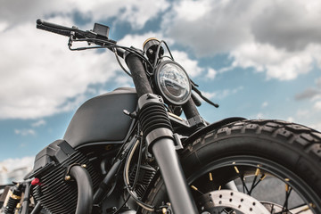 Men's freedom and independence - stylish powerful motorcycle and road