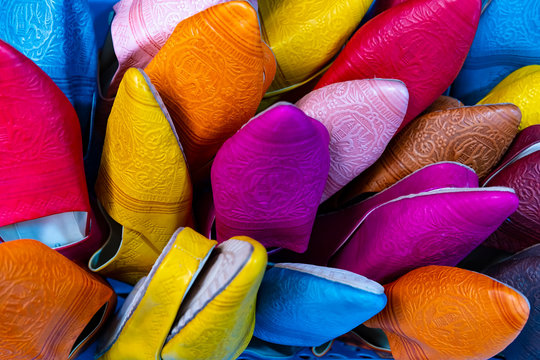 Colorful Soft Leather Moroccan Slippers in Granada, Spain