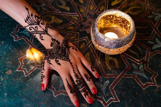 Henna Tatoo in Moroccan cafe, Granada, Spain