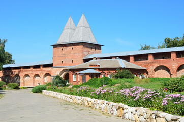 The walls and towers of the ancient Zaraysk Kremlin in sunny day. Russia, Moscow region