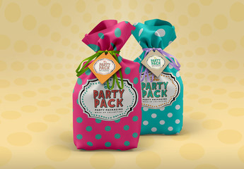 Gift Sack Pouches Packaging Mockup