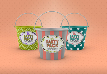 Metal Buckets Packaging Mockup
