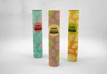 Trio of Paper Tubes Packaging Mockup