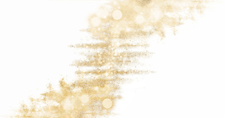 Golden glittering tinsel. Festive shiny sparkles isolated on white background