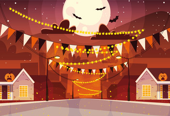 city decorated for halloween celebration Fotomurales