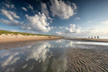 beautiful sky over North sea beach on sunnyy day