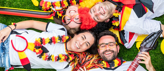 Happy german soccer fans celebrate championship victory