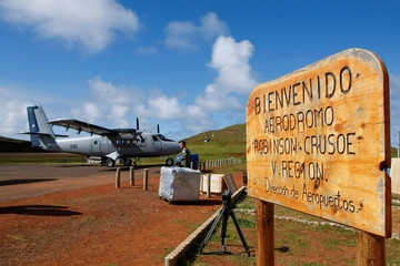 The airport of the Robinson Crusoe Island is seen, at the Juan Fernandez Archipelago