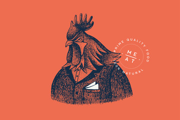 Graphically hand drawn rooster in a suit on a red background. Retro engraving with farm animals for restaurant menus, for packaging in markets and in shops. Vector vintage illustration.