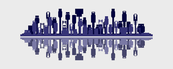 Connected World City Skyline Concept Vector