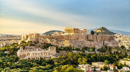 Montage in der Fensternische Altes Gebaude View of the Acropolis of Athens in Greece