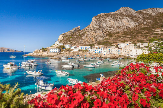 View of the village of Levanzo overlooking the small harbor, Egadi Islands, Italy