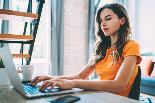 Female freelancer working at home using her laptop