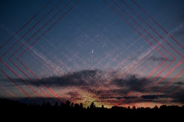 Horizontal shot of the sky during sunset with the moon visible and cool artsy red squares edited