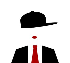 woman with baseball cap sideways and red tie
