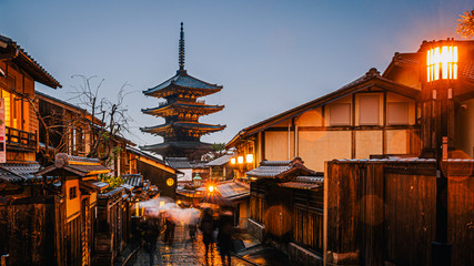 Yasaka Pagoda and Sannen Zaka Street with rain at night, Kyoto, Japan.