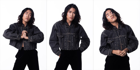 Fashion Stylish boy pose acting in Jean Jacket, he has black hair and slim body.  Studio shooting over gray background isolated in Collage group pack of three Wall mural