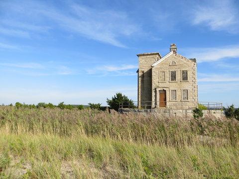 The Cedar Point Lighthouse on a Beautiful Late Summer Day in East Hampton, Long Island, New York