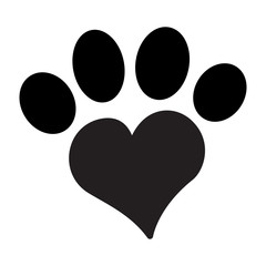 Paw with Heart Icon. Concept for Healthcare Medicine and Pet Care. Outline and Black Domestic Animal. Pets Symbol, Icon and Badge. Simple Vector illustration