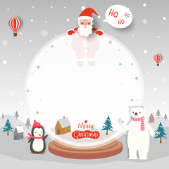 Merry Christmas card with santa claus penguin and polar bear on snow globe frame.