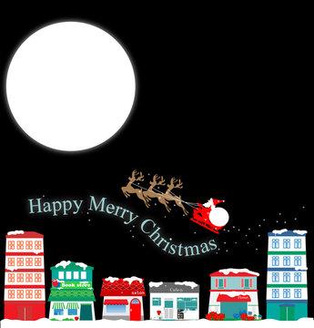 merryChristmas、Xmas、クリスマス、サンタ、月、街並み