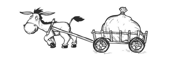 Donkey drags a heavy bag. Vector graphics. hand drawing. Sketch
