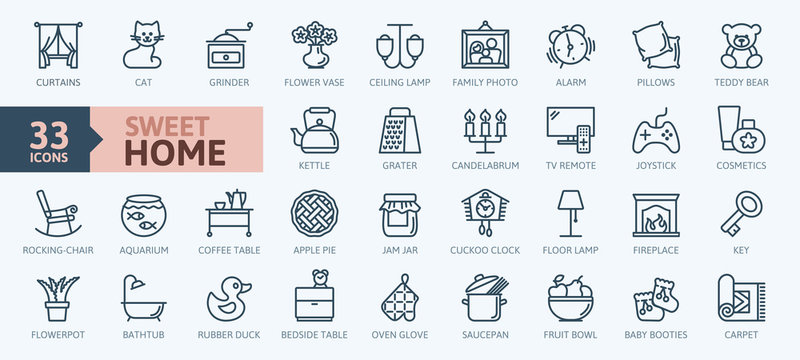 Home, sweet home - minimal thin line web icon set. Outline icons collection.Simple vector illustration.