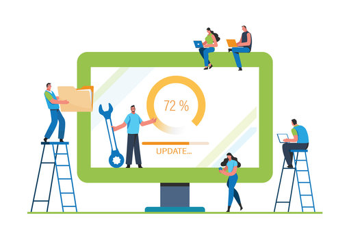 System updates with people updating operation in computing and installation programs. Flat vector illustration modern character design. For a landing page, banner, flyer, poster, web page.