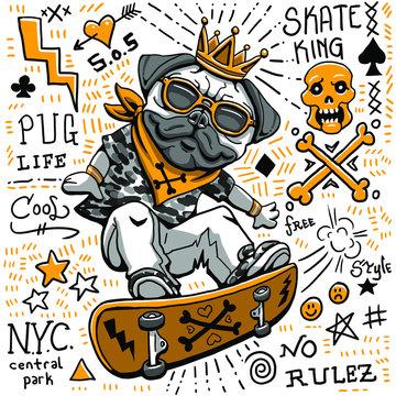 pug dog illustration graphic design resource