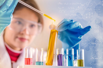 scientist with equipment and science experiments, laboratory glassware containing chemical liquid for research or analyzing a sample into test tube in laboratory