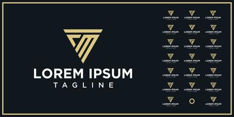 set of initials triangle logo design template