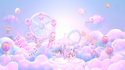 Cartoon pastel amusement park and candy land. 3d rendering picture.