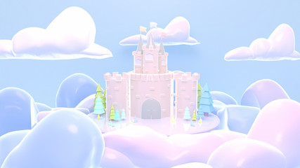 Cartoon castle. 3d rendering picture.