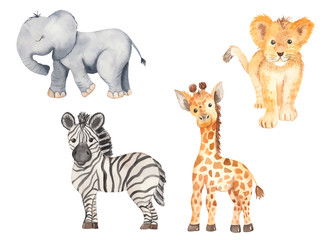 Cute cartoon African animals. Elephant, zebra, giraffe, lion