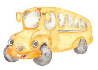 Watercolor cute cartoon school bus clipart