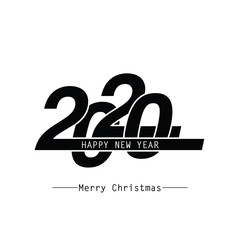 Happy New Year 2020 Text Design. Vector Eps 10