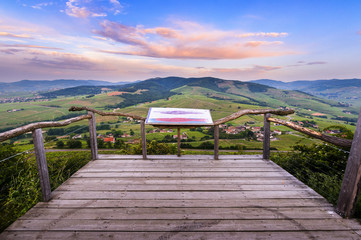 View point of Brouilly mountain, Geoscope, Beaujolais, France