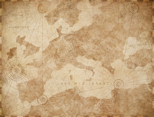 Wall Mural - Vintage Europe map retro background. Based on image furnished from NASA.
