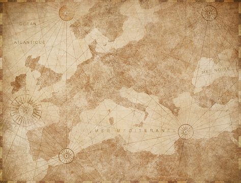 Vintage Europe map retro background. Based on image furnished from NASA.