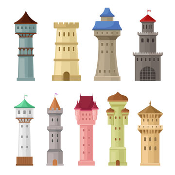 Set of old castle towers. Vector illustration on a white background.