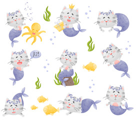 Set of images of cartoon cat mermaid. Vector illustration on a white background.