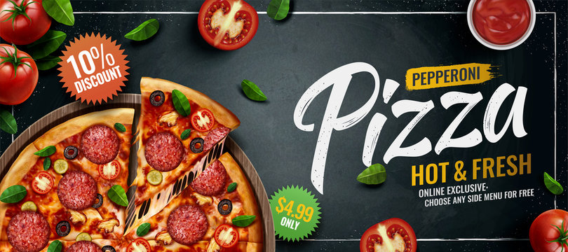 Pepperoni pizza banner ads